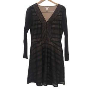 WHBM black lace nude lining fit and flare dress
